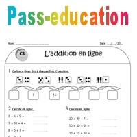Addition en ligne - Ce1 - Exercices corrigés - Pass Education