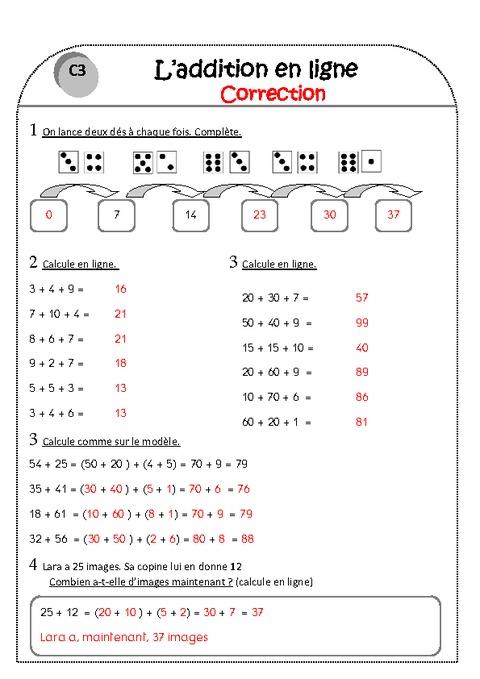 Addition En Ligne Ce1 Exercices Corrig 233 S Pass Education