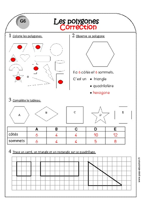 Carré, triangle et rectangle - Ce1 - Exercices sur les Côtés et sommets du polygone - Pass Education