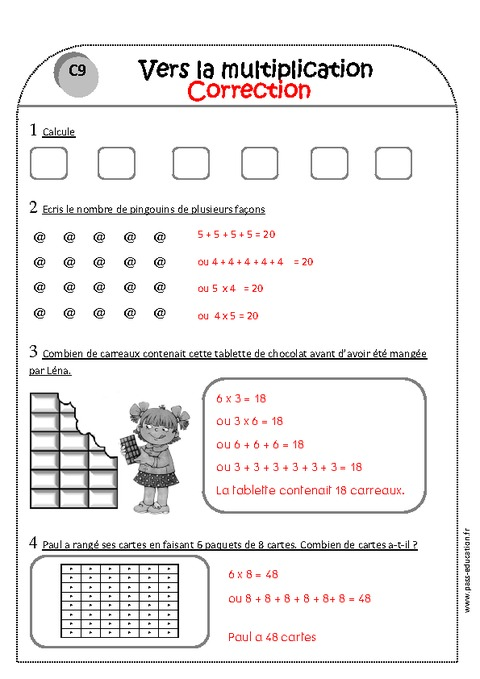 Vers la multiplication ce1 exercices imprimer pass for Multiplication ce1
