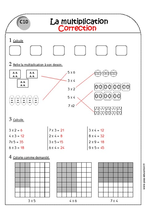 Multiplication ce1 exercices imprimer pass education for Multiplication ce1
