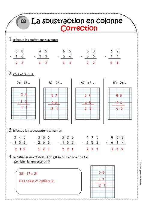 Soustraction en colonne sans retenue ce1 exercices - Exercices tables d addition ce1 ...