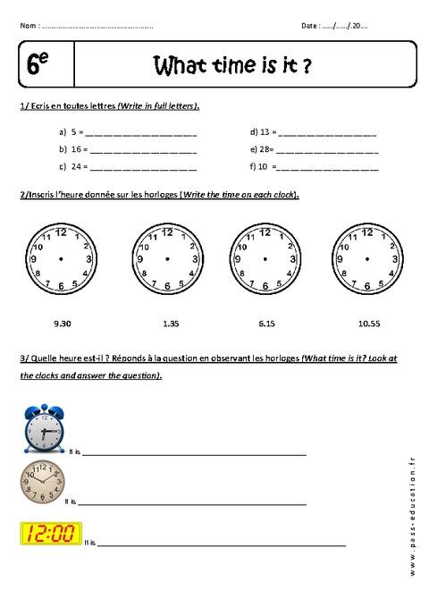 Heures et Minutes - 6ème - Exercices corrigés - What time ...