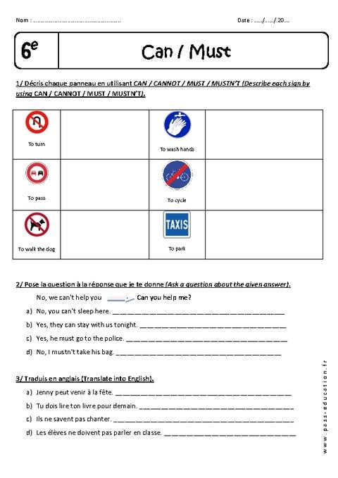 Must - Can - 6ème - Exercices à imprimer - Pass Education