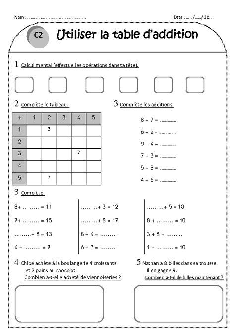 480 x 679 jpeg 59kB, Table d'addition - Ce1 - Exercices à imprimer ...