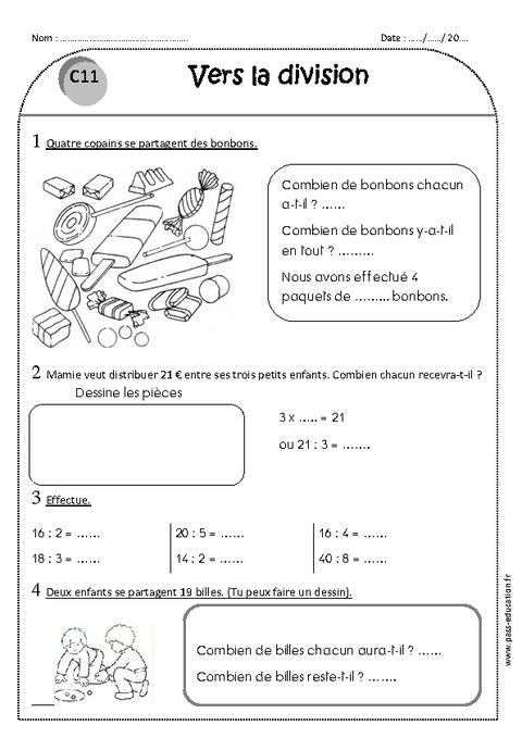 Vers la division - Ce1 - Exercices à imprimer - Pass Education