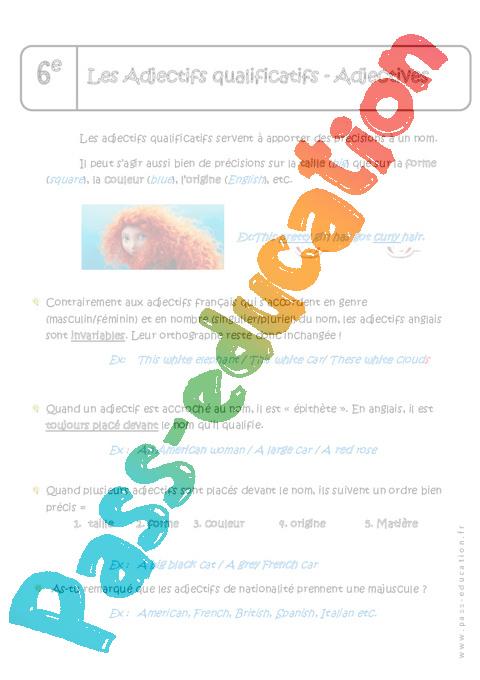 Fabuleux Adjectifs qualificatifs - Adjectives - 6ème - Cours - Anglais  ST16