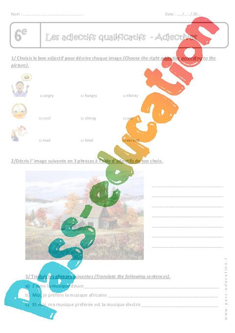 adjectives 6 me exercices sur les adjectifs qualificatifs en anglais pass education. Black Bedroom Furniture Sets. Home Design Ideas