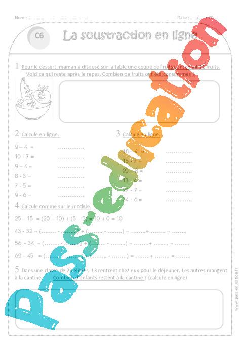 Soustraction en ligne - Ce1 - Exercices corrigés - Pass Education
