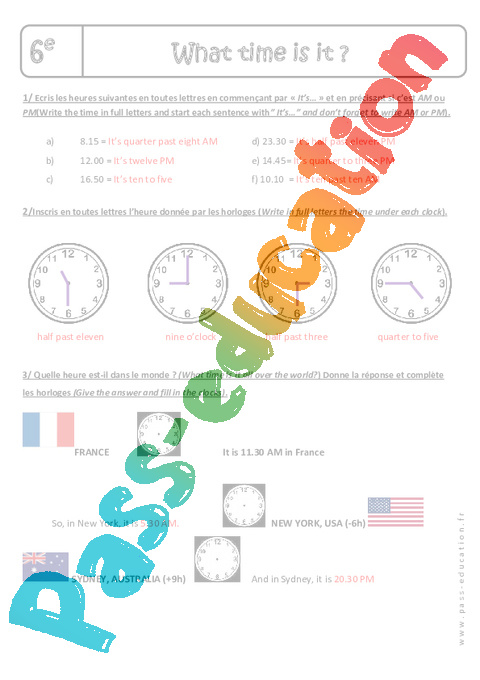 What Time Is It Please Heure Et Minute 6eme Exercices A