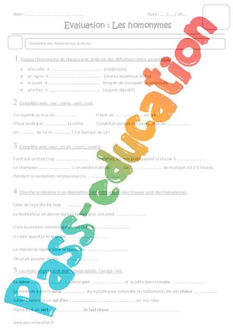 Homonymes - Cm1 - Evaluation - Pass Education
