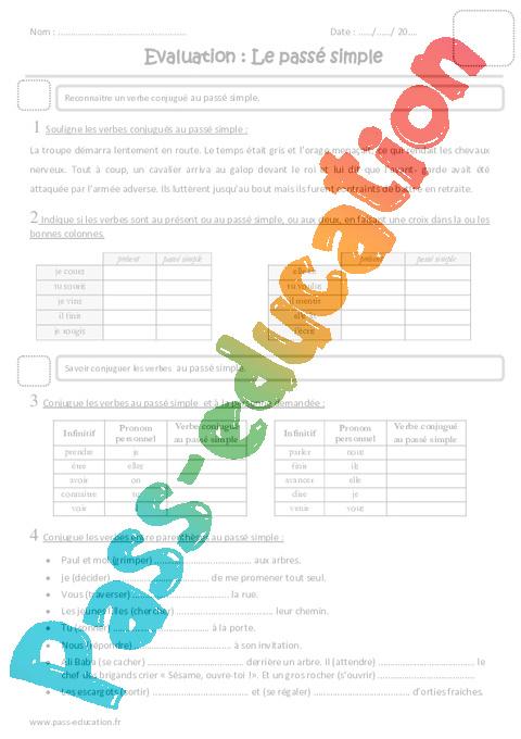 Coloriage Magique Passe Simple.Passe Simple Cm1 Evaluation Pass Education