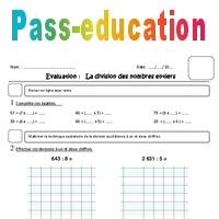 Division des nombres entiers - Cm1 - Evaluation - Pass ...