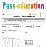 Fractions simples - Cm1 - Evaluation - Pass Education
