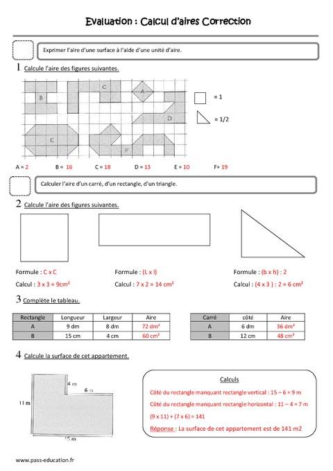 calcul d aires cm1 evaluation surface pass education. Black Bedroom Furniture Sets. Home Design Ideas