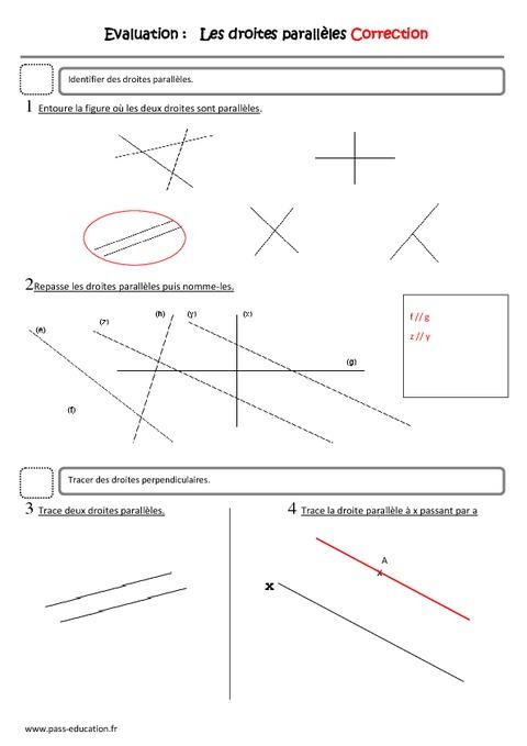 Droites parallèles - Cm1 - Evaluation - Pass Education
