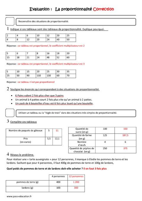 Proportionnalité - Cm1 - Evaluation - Pass Education