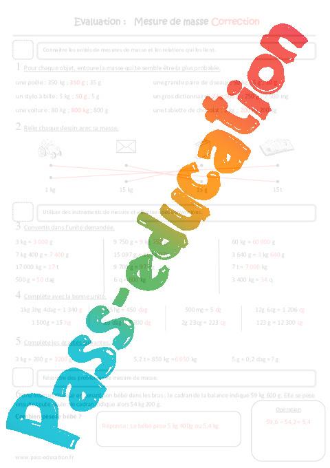 Masse G Kg Cm1 Evaluation Mesure De Masse Pass Education