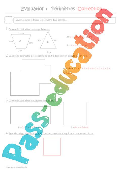 Mesure De Perimetre Ce2 Evaluation Pass Education