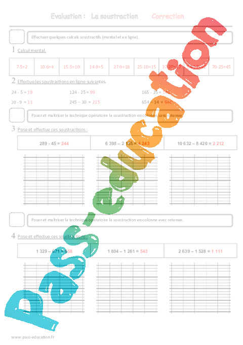 Soustraction ce2 evaluation pass education for Table de multiplication ce2 evaluation