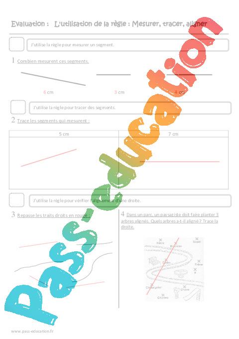 Utilisation de la r gle mesurer tracer aligner ce2 evaluation pass education - Regle pour mesurer ...