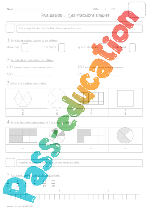 Fractions simples cm1 evaluation pass education - Fractions cm1 exercices a imprimer ...