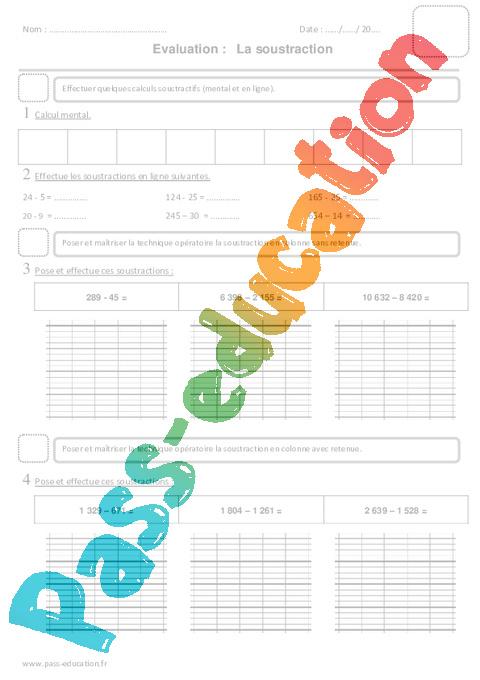 Soustraction ce2 evaluation pass education - Evaluation multiplication ce2 a imprimer ...