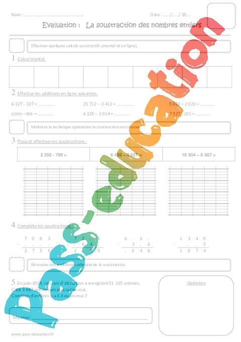 Soustraction des nombres entiers cm1 evaluation pass education - Soustraction avec retenue cm1 ...