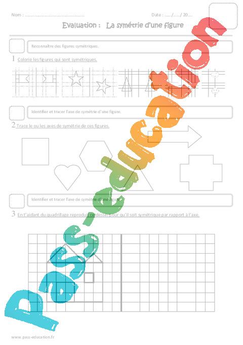 Symétrie d'une figure - Cm1 - Evaluation - Pass Education