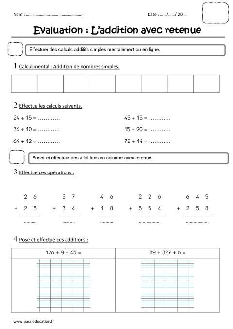 Addition avec retenue ce1 evaluation pass education - Evaluation ce table de multiplication ...