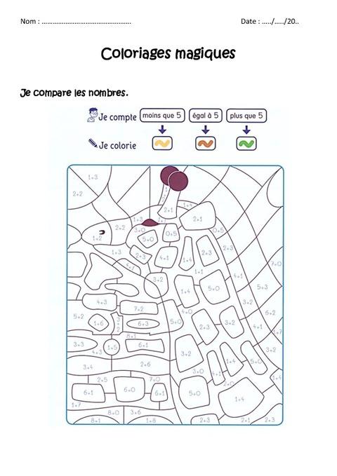 Comparer des nombres 5 cp coloriage magique - Coloriage magique nombres ...