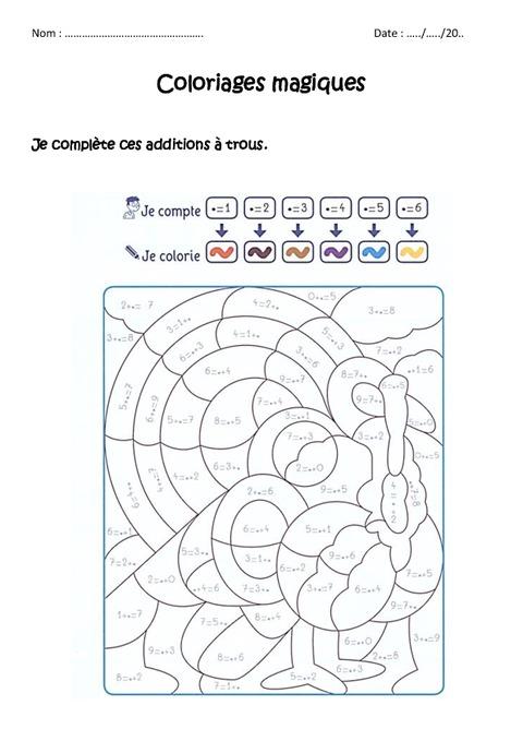 ... trous jusqu'à 9 - Cp - Coloriage magique à imprimer - Pass Education