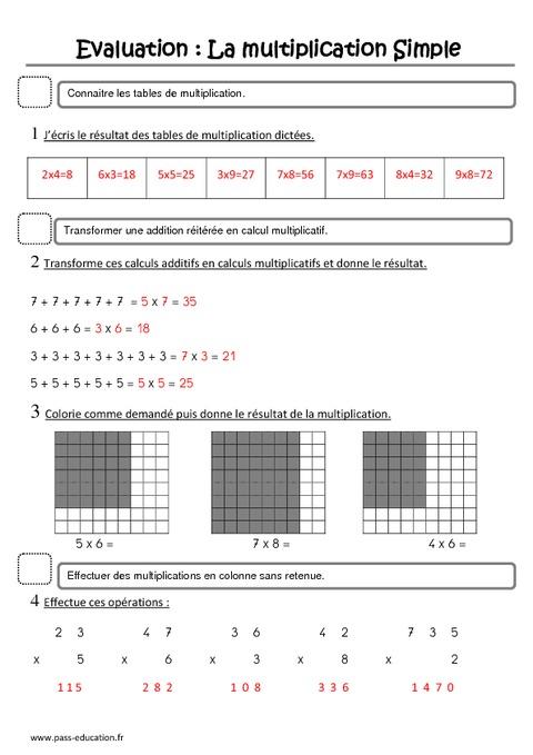 Multiplication ce1 evaluation pass education - Evaluation ce table de multiplication ...