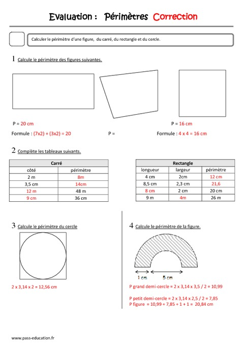 P rim tre cm2 evaluation pass education - Calcul de metre carre ...