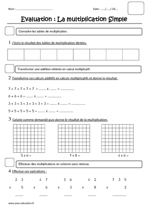 Multiplication ce1 evaluation pass education - Exercice ce1 table de multiplication ...