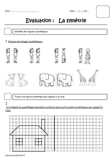 Symétrie - Ce1 - Evaluation - Pass Education