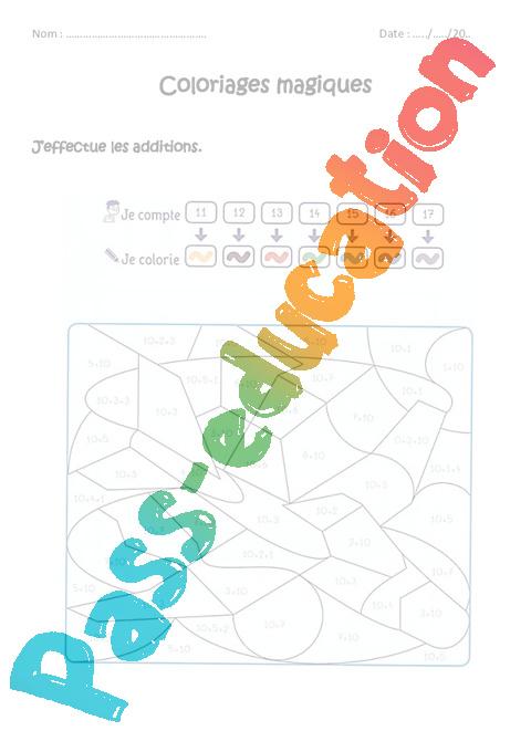 Coloriage Magique Unites De Mesure.Additionner 10 Unite Cp Coloriage Magique A Imprimer Pass