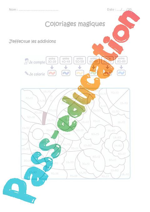 Coloriage Magique Unites Dizaines Centaines Ce2.Additionner Des Nombres De 0 A 100 Cp Ce1 Coloriage