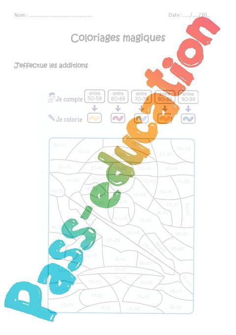 Coloriage Magique Cp Periode 4.Additionner Des Nombres De 0 A 100 Cp Ce1 Coloriage