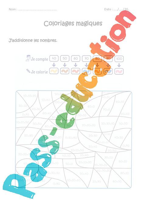 Coloriage Magique Unites Dizaines Centaines Ce2.Additionner Des Nombres De 0 A 100 Cp Ce1 Coloriage Magique A