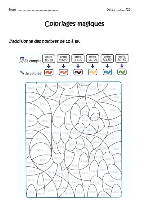 additionner des nombres de 0 à 69 cp ce1 coloriage magique à