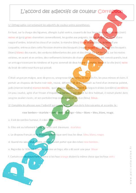 accord des adjectifs de couleur 5 me exercices pass education. Black Bedroom Furniture Sets. Home Design Ideas