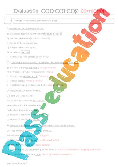 COD, COI, COS - Cm2 - Evaluation sur les compléments d'objets - Pass Education