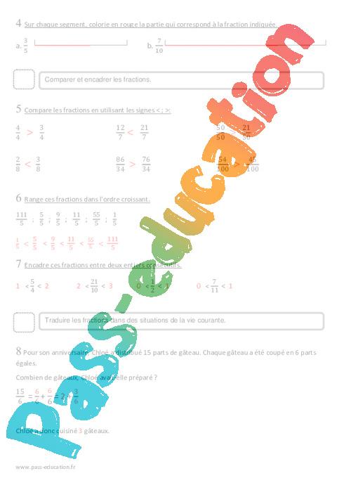 Coloriage Magique Encadrer Des Fractions.Fractions Cm2 Evaluation Pass Education