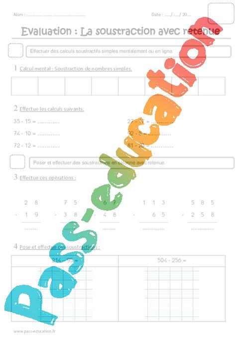 Soustraction avec retenue ce1 evaluation pass education - Addition et soustraction ce1 ...