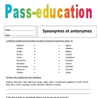 Antonymes Synonymes 6ème Exercices Corrigés Pass Education