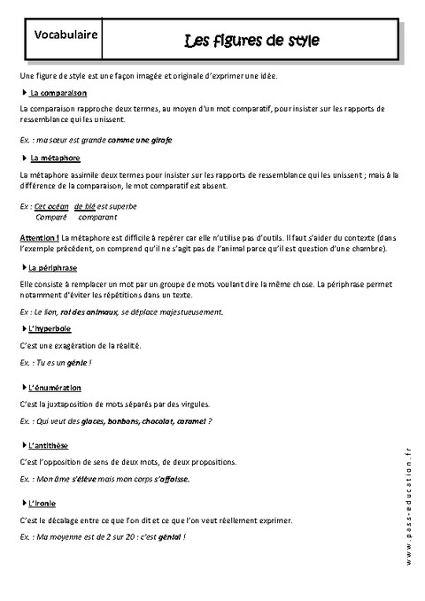 Figures de style - 4ème - Cours - Pass Education