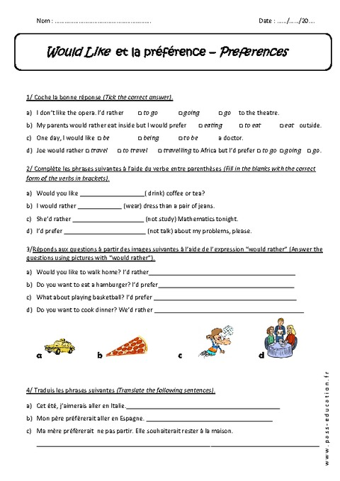 Exercices Anglais 5eme