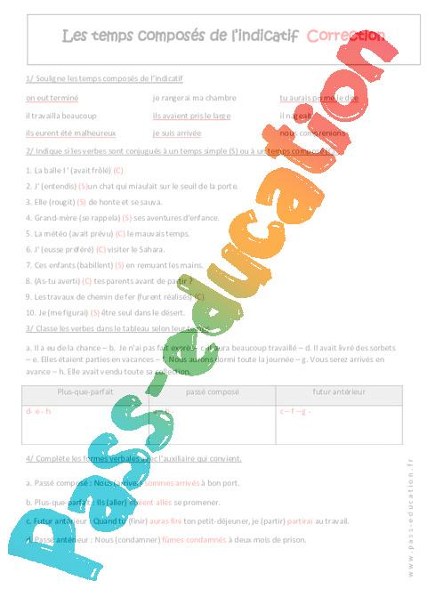 Temps Composes De L Indicatif 4eme Exercices A Imprimer Pass