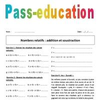 Nombres relatifs - Addition et soustraction - 4ème ...